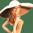 金色帽子のビューティフル女性