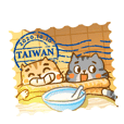 3 cat travel in Taiwan eating food