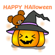 Autumn of a bear and Halloween sticker