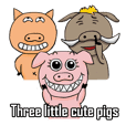 Three little cute pigs