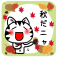 White cat autumn version Sticker-5