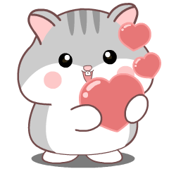 Cute grey Hamster : Animated