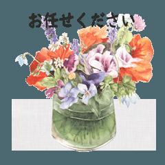 gentle colored flowers in vase