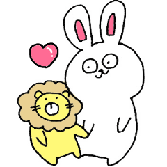 Rabbit and lion made by Mika