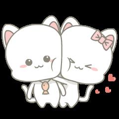 สติ๊กเกอร์ไลน์ Njun & Njel: คู้รักเหมียวน้อย
