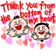 Thank you with iove stamp