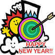 New Year's card sticker
