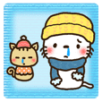 Greetings sticker of cat. winter ver.