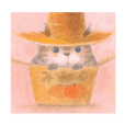 The cat which put on a straw hat English
