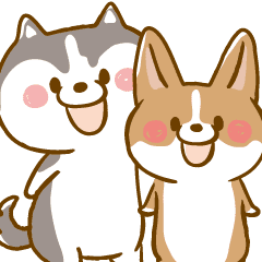 Siberian Husky And Welsh Corgi Line Stickers Line Store