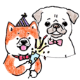 SHIBAINU&PUG greeting sticker