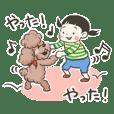 Sticker of Girl & Dog