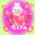 かわいいネコの魔女のスタンプ