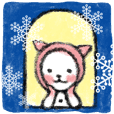 Hokaburi neko's winter greeting sticker