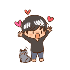 男の子とネコ