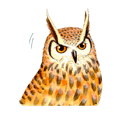 Cute horned owl Real style version