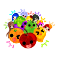 Sticker of fruits and little girls
