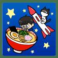 A sogoshosha-man with his cat.
