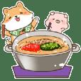 Shiba and Pig! Foodies!!