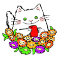 Ballon sticker cat and flowers