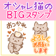 tea tabby cat BIG sticker