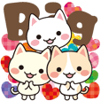 Big sticker of three kittens1