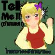 Cartoon lady cute language Thai/eng