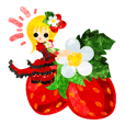 Sticker of strawberry and little people
