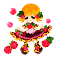 Sticker of fruits girl in pretty dresses