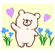 White bears with early summer flowers