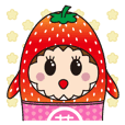Sticker of  cute strawberry
