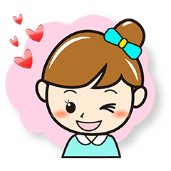 Cheerful girl colorful stamp