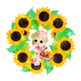 Sticker of sunflower girls