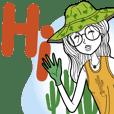 Minimal Girl & Her Plants [Big Sticker]
