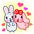 Pink & gray rabbit (couple version)