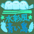Happy blue bird water color