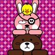 bear chicken rabbit(coffee.yellow.pink)1