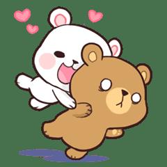 Bear Couple Milk Mocha Line Stickers Line Store