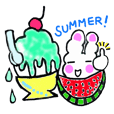 Summer of white rabbit and pink rabbit