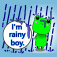Cute frog with umbrella.