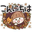 Lady's polite sticker Autumn