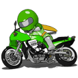 Lime green rider animation