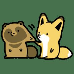 タヌキ と キツネ スタンプ