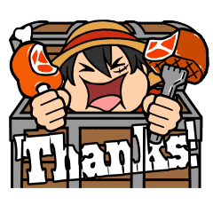 ONE PIECE LINE STAMP -THANKS!-