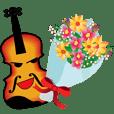 バイオリンやチェロ等楽器の文字無スタンプ