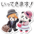 Stickers of a giant panda & Lesser panda