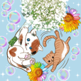 Cute cats and beautiful flowers