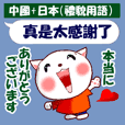 中国語(繁体字)+日本語(丁寧な言葉)