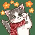 やさしい子猫の動くスタンプ3 〜秋冬〜