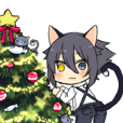 Christmas kemomimi boy and little cat